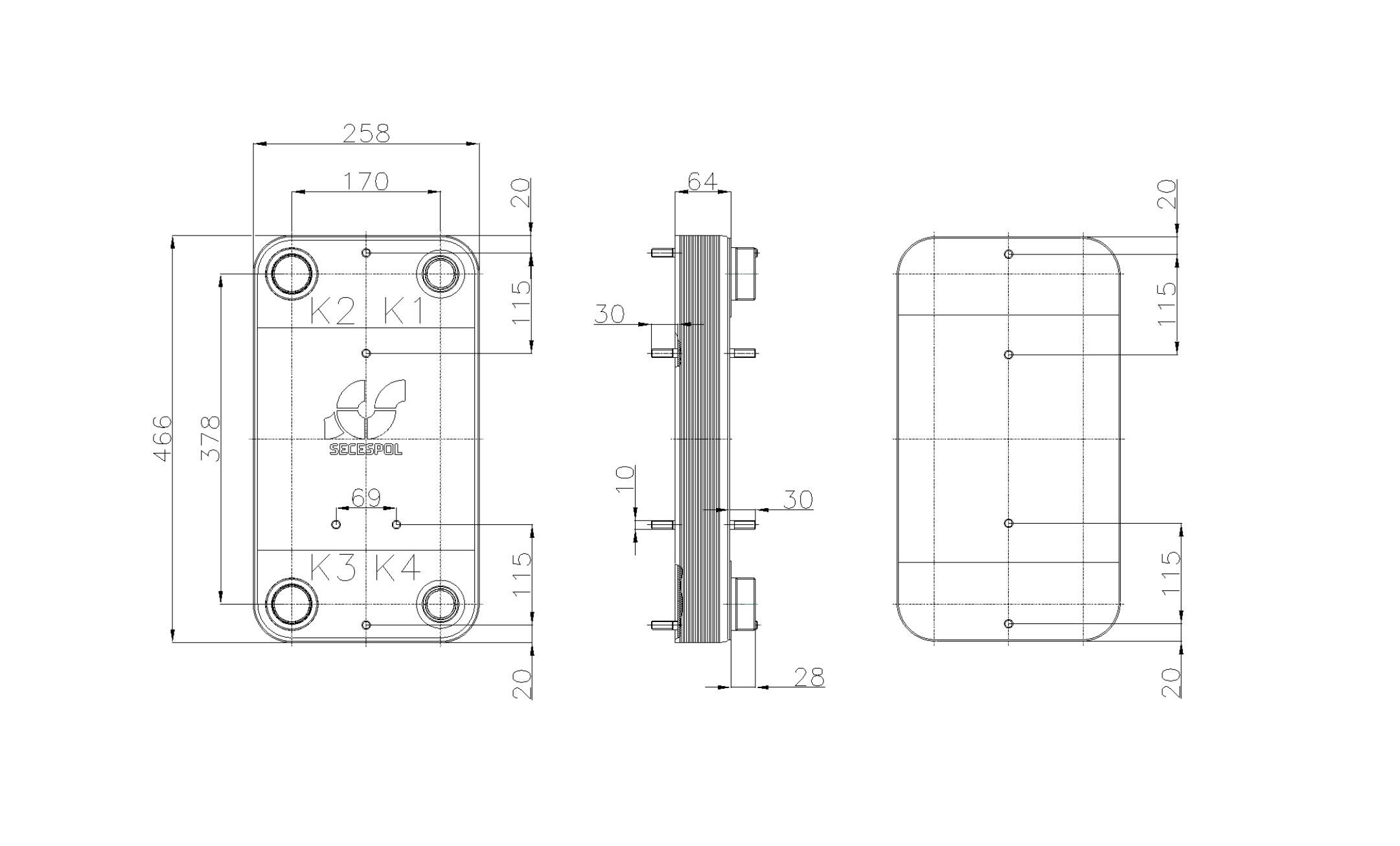 Габаритные размеры паяного пластинчатого теплообменника Secespol RHC110-20