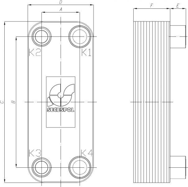 Паяный пластинчатый теплообменник Secespol RA34-40