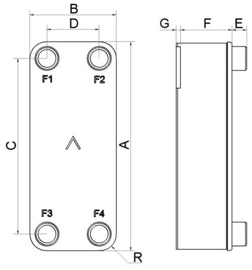 Габаритные размеры паяного пластинчатого теплообменника B10TS-50 Swep