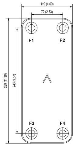 Габаритные размеры паяного пластинчатого теплообменника B10T-80 Swep