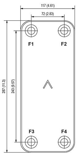 Габаритные размеры паяного пластинчатого теплообменника B10-130 Swep