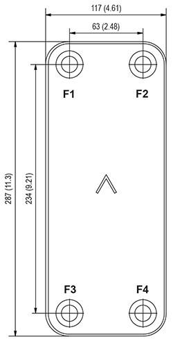 Габаритные размеры паяного пластинчатого теплообменника B12-130 Swep