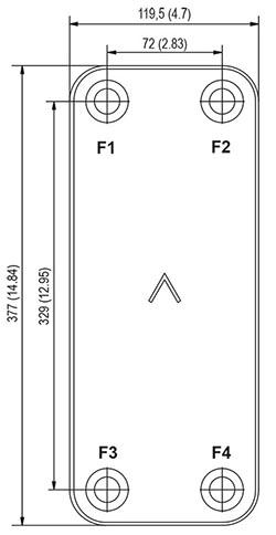 Габаритные размеры паяного пластинчатого теплообменника B16DW-140 Swep