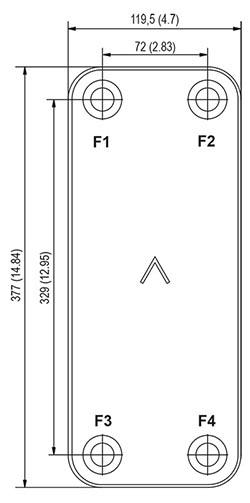 Габаритные размеры паяного пластинчатого теплообменника B17-120 Swep