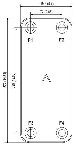 Габаритные размеры паяного пластинчатого теплообменника B18-20 Swep