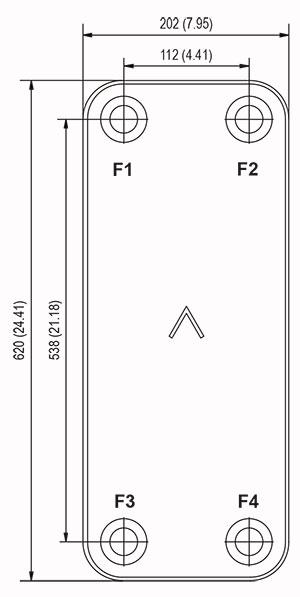 Габаритные размеры паяного пластинчатого теплообменника B250AS-80 Swep