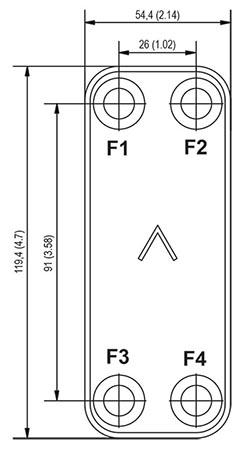 Габаритные размеры паяного пластинчатого теплообменника B3-60 Swep