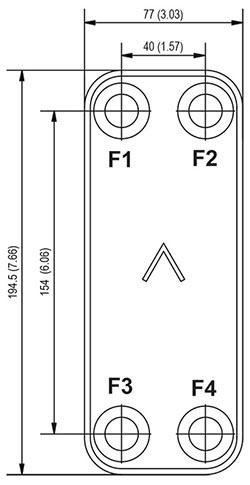 Габаритные размеры паяного пластинчатого теплообменника B4-50 Swep