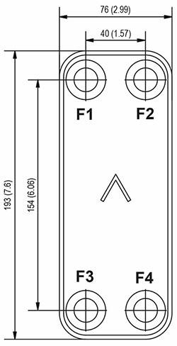 Габаритные размеры паяного пластинчатого теплообменника B5F-40 Swep
