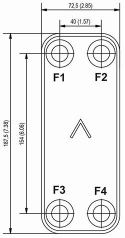 Габаритные размеры паяного пластинчатого теплообменника B5-60 Swep