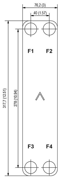 Габаритные размеры паяного пластинчатого теплообменника B8LAS-10 Swep