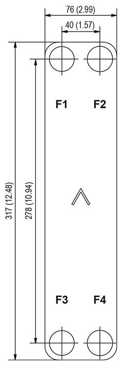 Габаритные размеры паяного пластинчатого теплообменника B8T-10 Swep