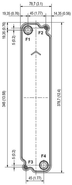 Габаритные размеры паяного пластинчатого теплообменника B9-50 Swep