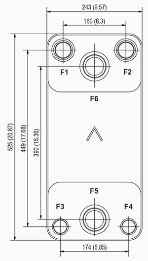 Габаритные размеры паяного пластинчатого теплообменника DB310-330 SWEP