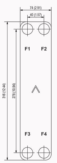 Габаритные размеры паяного пластинчатого теплообменника E8LAS-20 SWEP
