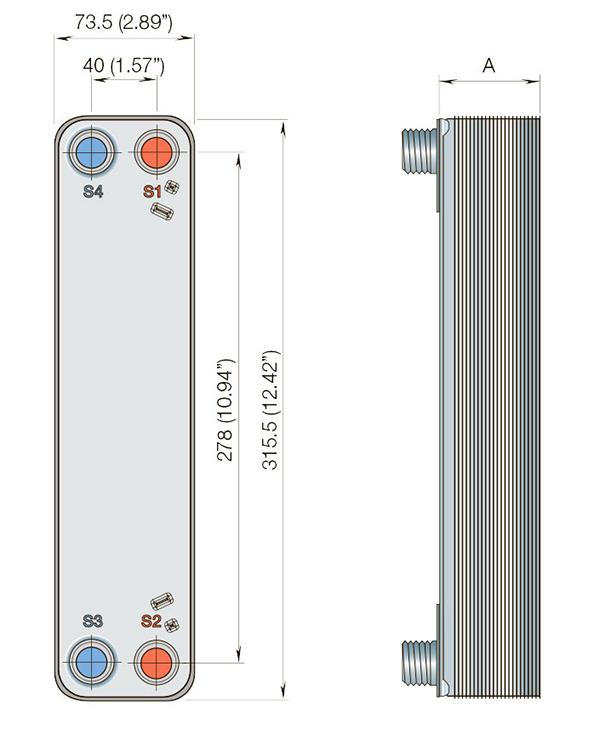 Габаритные размеры паяного пластинчатого теплообменника CBH18-29H Alfa Laval