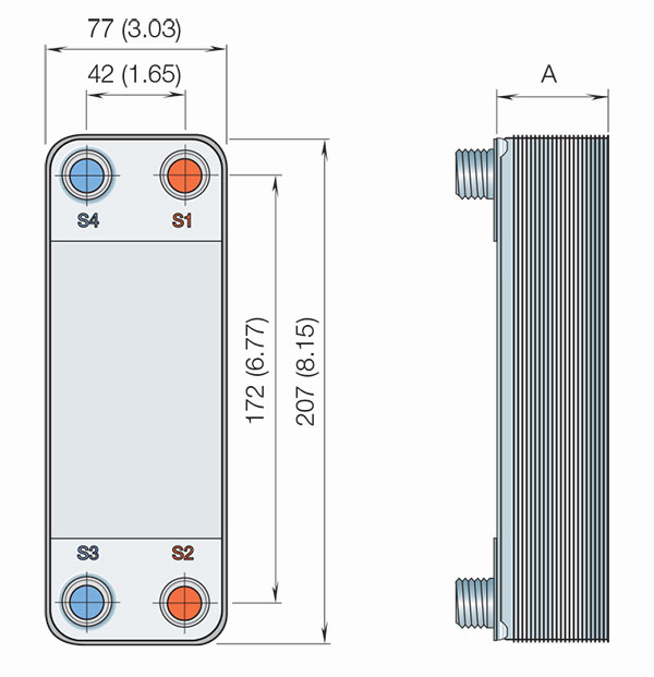 Габаритные размеры пластинчатого теплообменника, изготовленного методом диффузионной сварки, Alfa Laval AlfaNova 14-10H