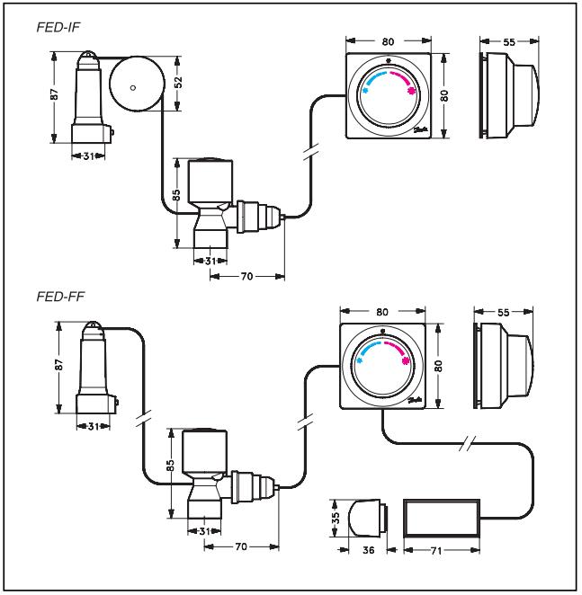 Габаритные и присоединительные размеры терморегулятора Danfoss FED