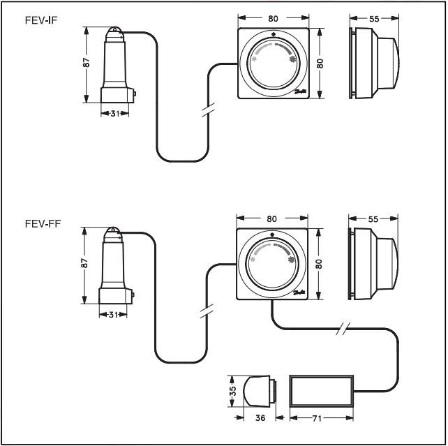 Габаритные и присоединительные размеры терморегулятора Danfoss FEV