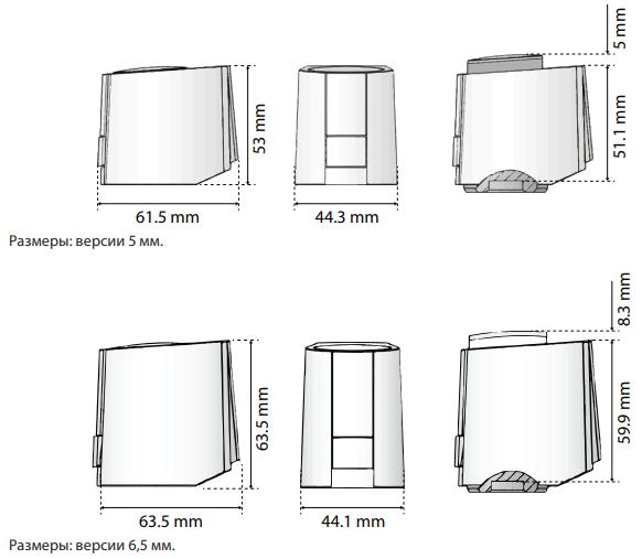Размеры. Привод Danfoss ABNM A5 Лог./Лин. для AB-КМ