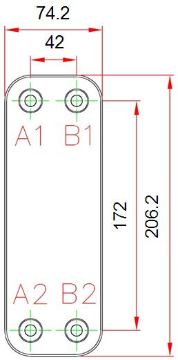Габаритные размеры паяного пластинчатого теплообменника F025*A20M-G4 KAORI