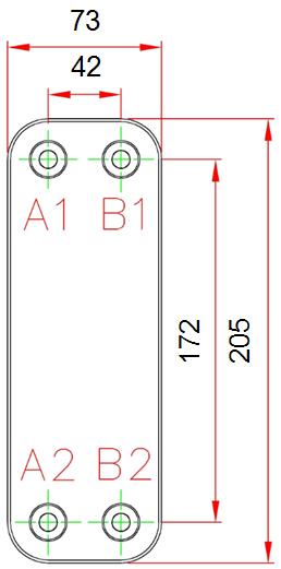 Габаритные размеры паяного пластинчатого теплообменника K025*30M-G4 KAORI