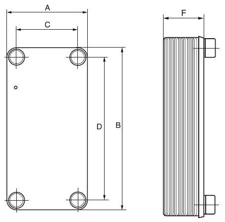 Габаритные размеры паяного пластинчатого теплообменника GBH 100-30 Кельвион