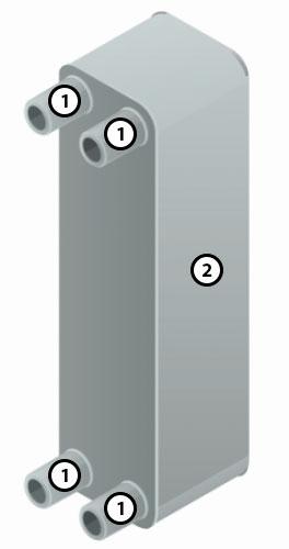 Конструкция паяного пластинчатого теплообменника XB06H-1-20 Ридан