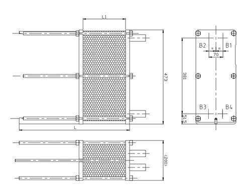 Габаритные размеры разборного пластинчатого теплообменника S4A Sondex