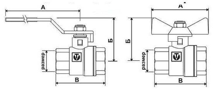 Номенклатура и габаритные размеры шаровых кранов Valtec серии Base