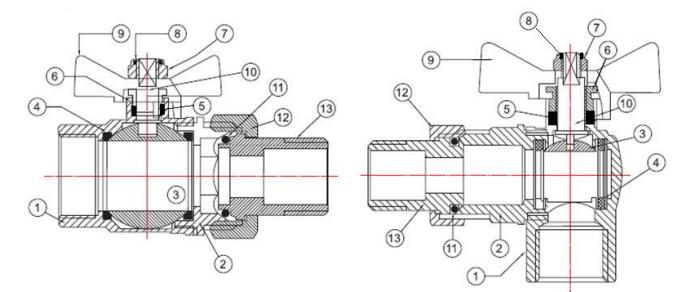 Конструкция и материалы шаровых кранов Valtec серии Base
